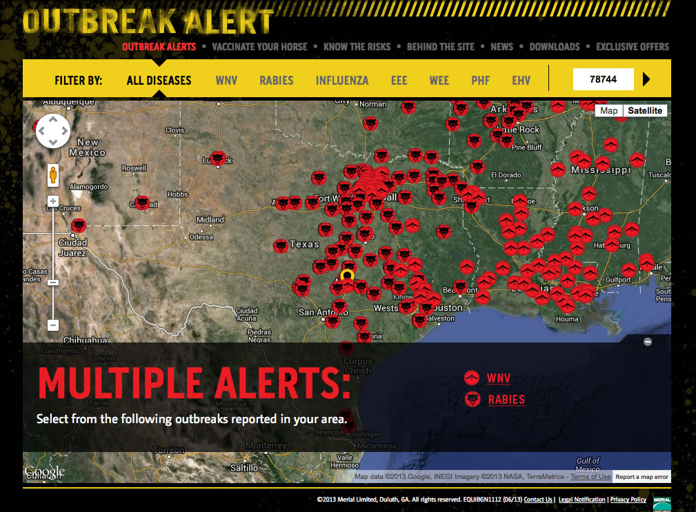 Track Equine Diseases via Merial's Online Outbreak-Alert.com