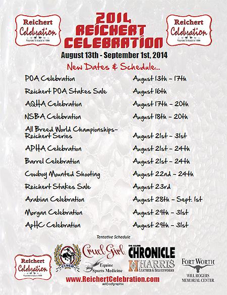 Reichert Celebration Horse Show – Fort Worth, TX – Aug 13 – Sept 1, 2014