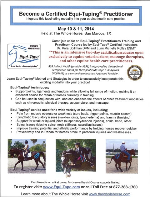 Certified Equi-Taping Practitioner Course – May 10-11 at The Whole Horse Clinic