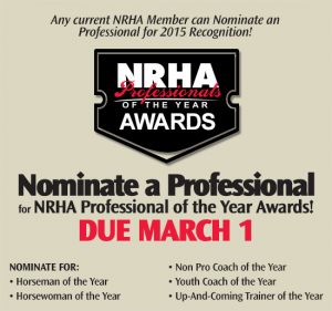 NRHA Professional of the Year Nominations Due March 1st