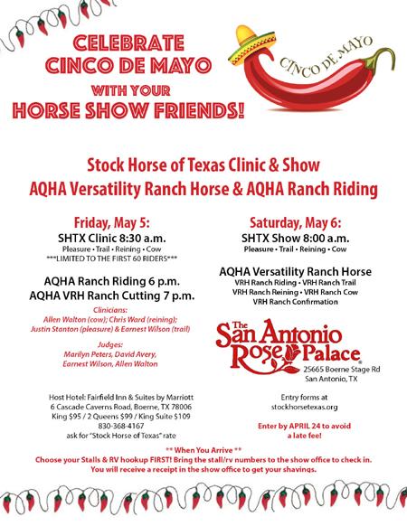 Stock Horse of Texas 2017 Cinco De Mayo Clinic & Show AQHA Versatility Ranch Horse & Ranch Riding – San Antonio, TX