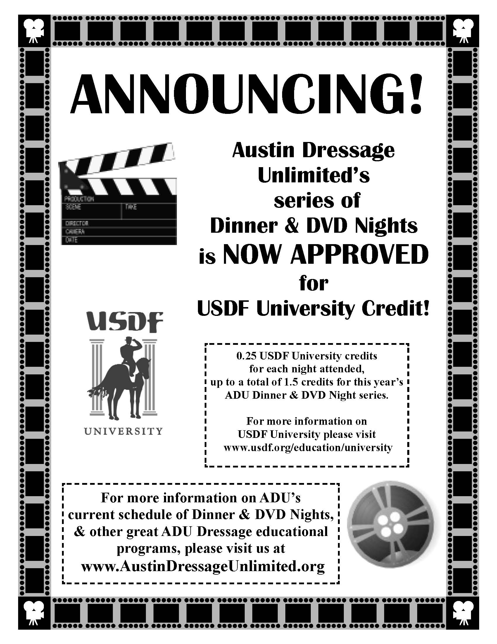 Austin Dressage Unlimited's Series of Dinner & DVD Nights is Approved for USDF University Credit