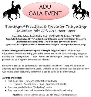 Austin Dressage Unlimited Presents an Evening of Dressage Freestyles in Belton, TX - July 22, 2017