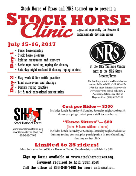 Stock Horse of Texas Clinic Only – Decatur TX – July 15-16, 2017