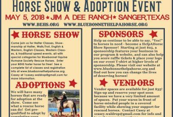 Help-A-Horse Horse Show & Adoption Event – May 5, 2018 – Sanger, TX